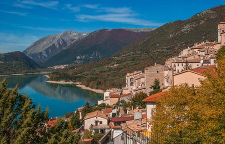 Panoramic view of Barrea lake in the autumn season in Abruzzo