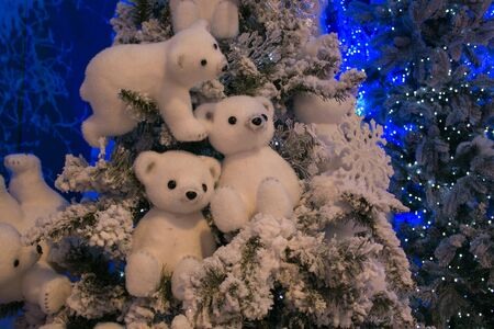 Details of beautiful christmas tree with polar bears and lights Zdjęcie Seryjne