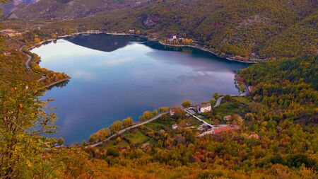 Panoramic view of Scanno lake, the most striking feature is, of course, its unique heart shape. Rich in fish, fauna, and wildlife