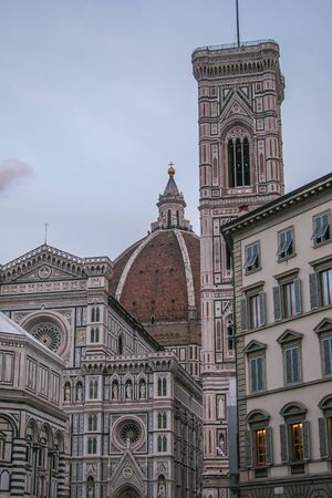 Detail of bell tower of Santa Maria del Fiore cathedral of Florence in Tuscany, Italy Imagens