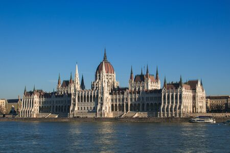 Winter view of Parliament building on the banks of the Danube, Budapest, Hungary