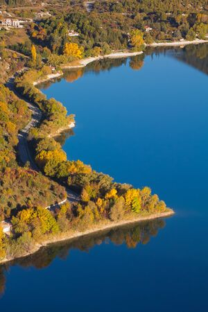 Aerial view of Scanno lake in the autumn season, Italy