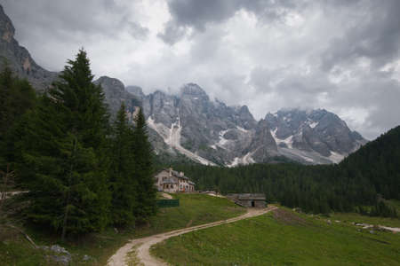 Summer view of Pale di San Martino in the Trentino dolomites, Italy