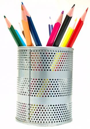 Pens in the pen holder Stock Photo
