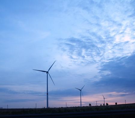 Windmills at twilight in Saxony, Germany