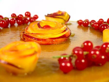 Cake with peaches Stock Photo