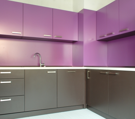 newly: Newly fitted modern kitchen in purple and brown