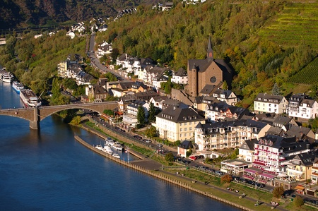 mosel: View on Cochem city in Germany on a sunny day