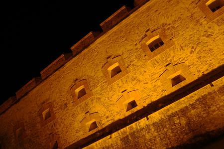 gratings: Fortress Ehrenbreitstein by night Editorial