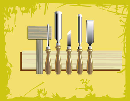 woodcarving: a woodcarving tool kit with wooden hammer Illustration