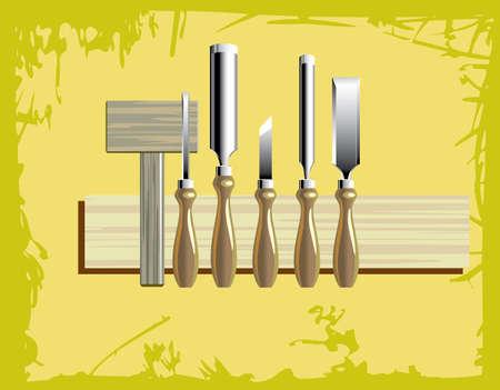 tallado en madera: un kit de herramientas de tallado con martillo de madera  Vectores