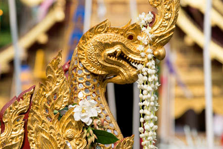 Naga , Dungeons & Dragon , Golden sculpture in Asia.