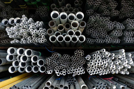 Steel pipe circle in warehouse. Stock Photo