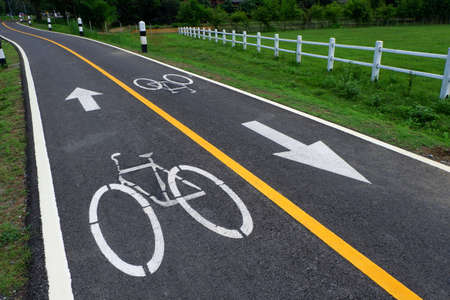 straight path: Bicycle signs on the bicycle way.