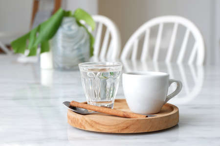 Hot coffee in white coffee shop. Stock Photo