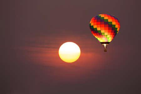 Hot Air Balloon and the Sun. Stock Photo
