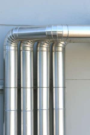 Aluminum ventilation air Pipes in building. Stok Fotoğraf