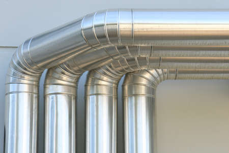 Aluminum Ventilation Air Pipes In Building. Stock Photo, Picture And ...