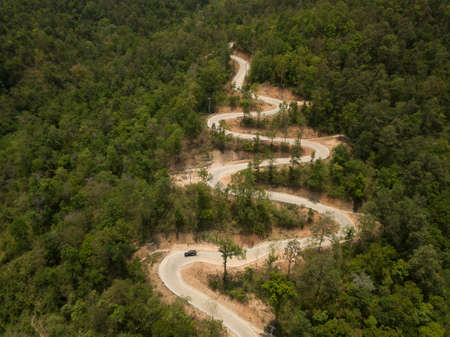 Aerial view Beautiful road on the mountain in Chiang Mai, Thailand.