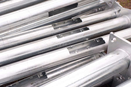 Aluminum Electricity Post Pipes for construction. Stok Fotoğraf