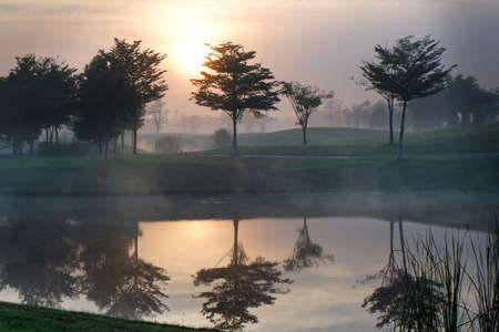 Golf course with foggy in the morning. 版權商用圖片