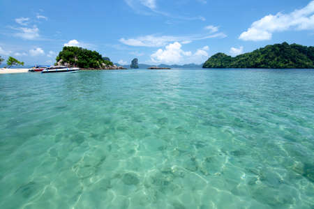 Sea and blue sky at Andaman ocean in Southern Thailand.