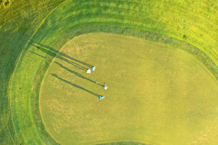 Aerial view Green Golf course in the morning. Stock fotó