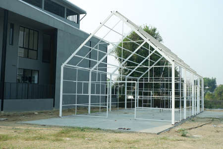 Construction Green House or Nursery plants for Background.