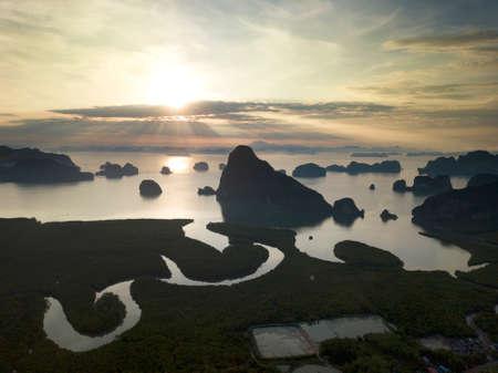 Aerial view Ao Phang Nga Bay famous place at Krabi and Phuket in Thailand.