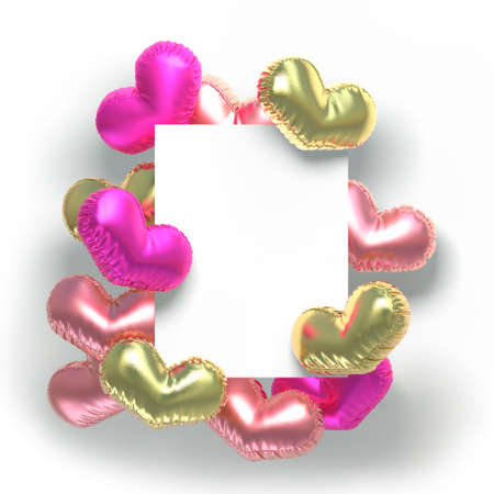 Set of valentines hearts allows create own unique scenes. 3d rendering. Stock Photo