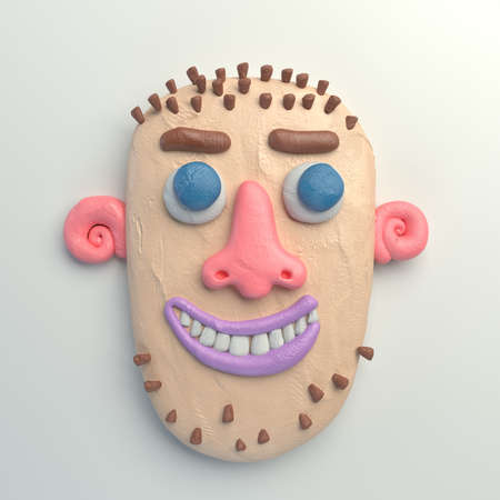 3d rendering of stylized cartoon head. Colorful plasticine figure. Realistic clay model. Isolated on white background.  Smiling bald-headed man.  Stock Photo