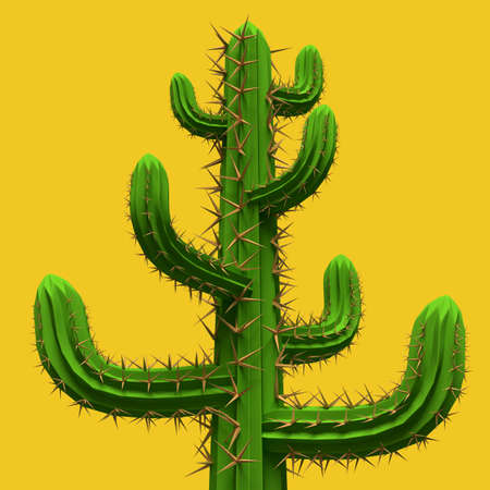 3d Low poly cartoon stylized  cactus. Plant isolated on vivid yellow background.