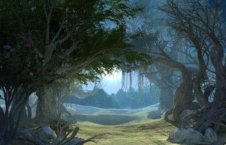 Representación 3D de bosque oscuro encantado en la luz de la luna. Camino de hadas en medio del bosque profundo mágico místico. Paisaje escénico. Escena nocturna misteriosa oscura, fondo para cartel de Halloween Foto de archivo