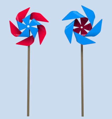 3d cartoon stylized colorful windmills.