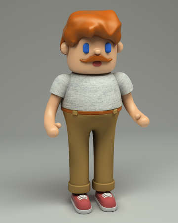 3d rendering of redhead young man with mustache in grey t-shirt, beige pants and red sneakers. Cartoon stylized 3d character illustration. Cute figure in full growth isolated on grey background.