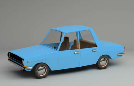 3d funny retro styled blue car. Glossy bright  vehicle on grey background with realistic shadows. Three-quarter view from above