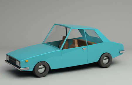 3d rendering of funny retro styled blue car. Glossy bright  vehicle on grey background with realistic shadows. Three-quarter view from above