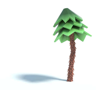 3d rendering of cartoon fir tree.Simple green pine tree with shadow isolated on white background. Set of stylized coniferous.