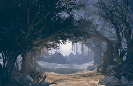 3d rendering of enchanted dark forest in the moonlight. Fairy path in the middle of mystic magic deep forest. Scenic landscape. Dark mysterious night scene, background for Halloween poster Archivio Fotografico