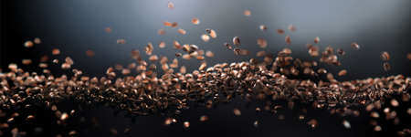 3d realistic falling coffee beans, floating wave with focus on foregroundDark abstract background . Long horizontal format.