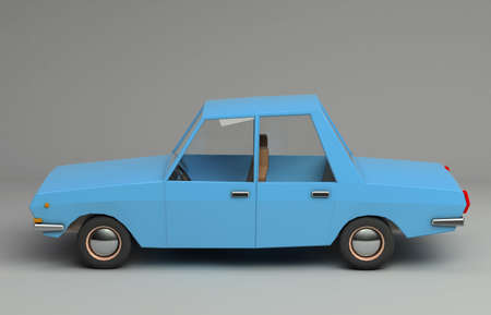 3d funny retro styled blue car. Glossy bright  vehicle on grey background with realistic shadows. Side view