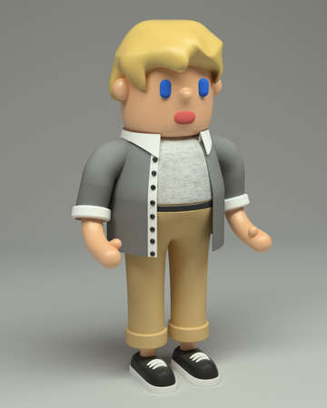 3d rendering of little blond boy in grey shirt, beige jeans and black sneakers.  Cartoon stylized 3d character illustration. Cute figure in full growth isolated on grey background.