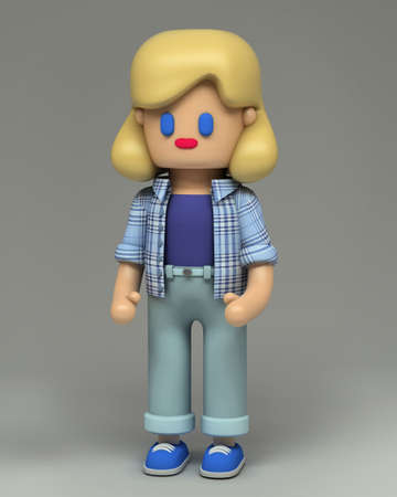 3d rendering of little blonde girl in blue checkered shirt, jeans and sneakers. 