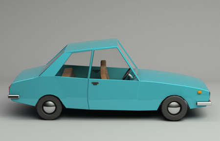 3d rendering of funny retro styled blue car. Glossy bright  vehicle on grey background with realistic shadows. Side view Stock Photo