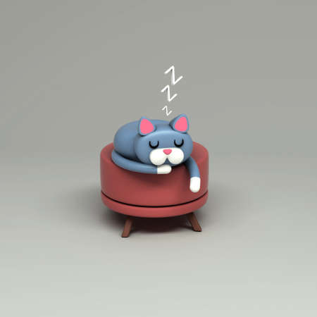 3d rendering of a cat sleeping sweetly on an ottoman. Cartoon stylized on white background.