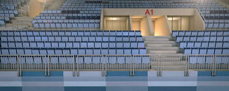 3d hockey stadium with an empty seating rows rendering