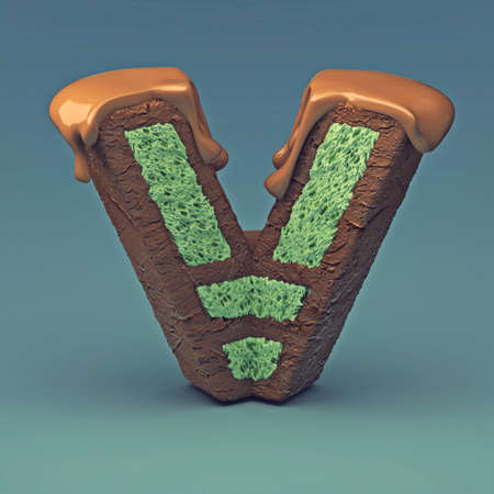 3d rendering of delicious letter with cream chocolate and sprinkles. Puff cake font letter V