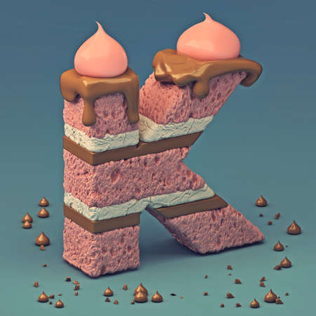 3d rendering of delicious letter with cream chocolate and sprinkles. Puff cake font letter K