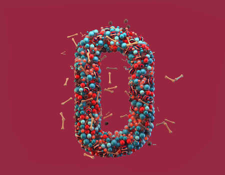 3d rendering. Colorful alphabet with small chocolate skulls and sugar bones. Font with many blue, orange and striped glossy spheres. Candy colors. Single uppercase letter D. Isolated on red background Stock Photo