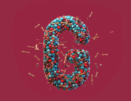 3d rendering. Colorful alphabet with small chocolate skulls and sugar bones. Font with many blue, orange and striped glossy spheres. Candy colors. Single uppercase letter G. Isolated on red background